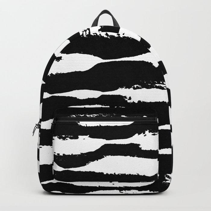 Paint Swipe White on Black Backpack