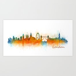 London City Skyline HQ v3 Art Print
