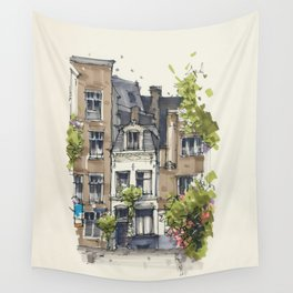 Residential house along Amsterdam canals Wall Tapestry