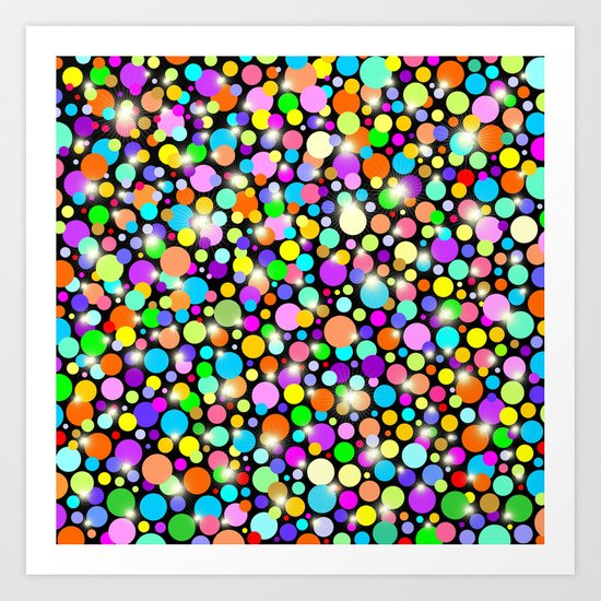 Psychedelic Colors Bright Polka Dots Art Print