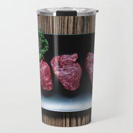 Raw Beef Steaks Travel Mug