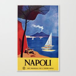 Napels Italy retro vintage travel ad Canvas Print
