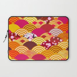 pattern scales simple Nature background with japanese sakura flower, rosy pink Cherry, wave Laptop Sleeve
