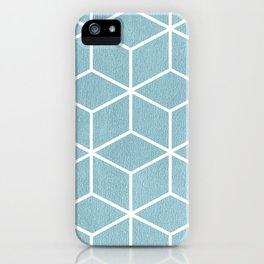 Light Blue and White - Geometric Textured Cube Design iPhone Case