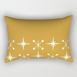 Space Age - Midcentury Modern Cuff Pattern in White on Mustard Gold Rectangular Pillow