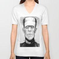 frankenstein V-neck T-shirts featuring Frankenstein by Garabatostudios