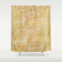 golden vintage damask floral pattern Shower Curtain