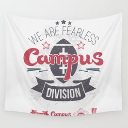 The emblem of rugby campus team in retro style Wall Tapestry