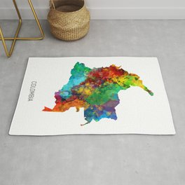 Colombia Watercolor Map Rug