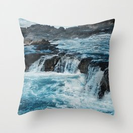 Blue Ice Glaciers Melting in Spring Throw Pillow