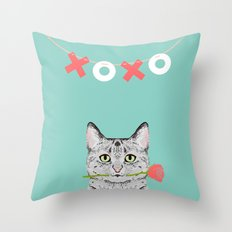 Valentines Cat greeting card cell phone with cat love cat lady gifts egyptian mau cat owners Throw Pillow