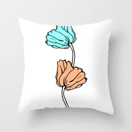 Pink and blue sketched flowers, nature print, poppy Throw Pillow