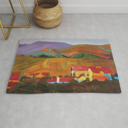 Tuscany Vineyards, Orchards, Village & Rolling Hills landscape painting by Egon Schiele Rug