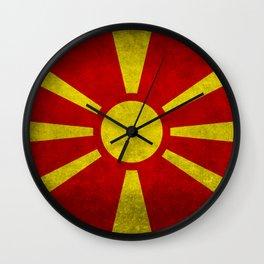 Flag of Macedonia in Super Grunge Wall Clock