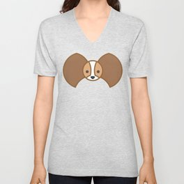 Tricolor papillon - Brown / Tan / White Unisex V-Neck
