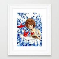 crane Framed Art Prints featuring Crane by Kat Martin