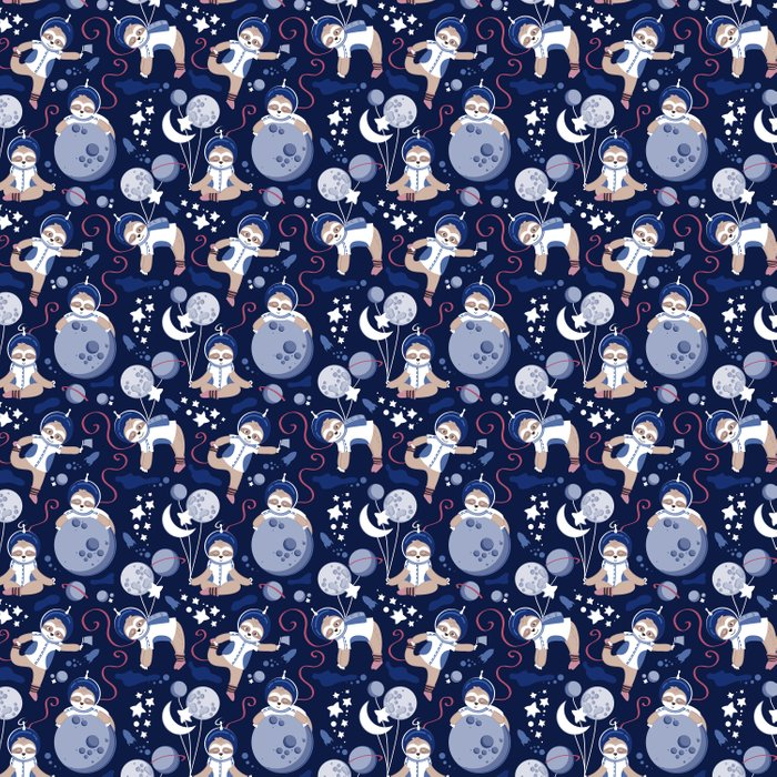 Best Space To Be // navy blue background indigo moons and cute astronauts sloths Comforters