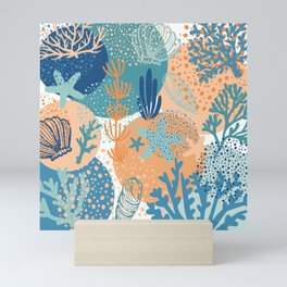 Coral Sea Shell Ocean Life Beach Pattern in Blue Teal Turquoise and Orange Mini Art Print