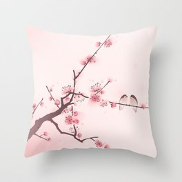 Oriental cherry blossom in spring 005 Throw Pillow
