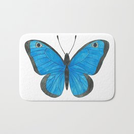 Morpho Butterfly Illustration Bath Mat