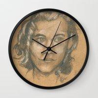 harry styles Wall Clocks featuring Harry Styles  by Rosie Jo