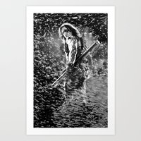 the winter soldier Art Prints featuring Winter Soldier by Mari Vasilescu