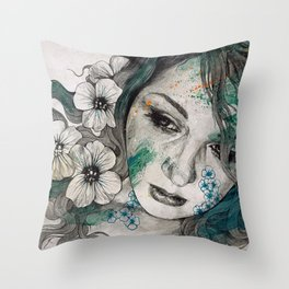 Cleopatra's Sling (flower tattoo lady portrait drawing) Throw Pillow
