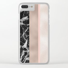 Marble in the night - rose gold Clear iPhone Case