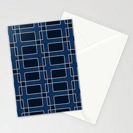 Silver Foil Utilitarian Geometric Squares Dark Blue Stationery Cards