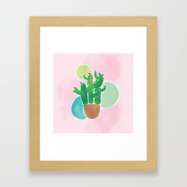 Colorful Watercolor Cacti & Bubbles on Pink BG Framed Art Print