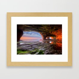 Sea Cave Sunset on Lake Superior Framed Art Print