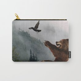 The Trickster - Raven & Grizzly Bear Art Print Carry-All Pouch