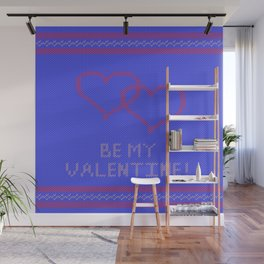 Knitted background with hearts Wall Mural