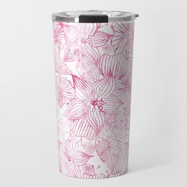 Watercolor pink white hand painted floral Travel Mug