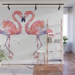Pink Flamingo Love Two Flamingos Wall Mural