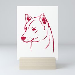 Shiba Inu (White and Red) Mini Art Print