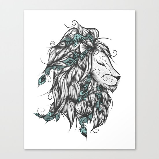 Poetic Lion Turquoise Canvas Print