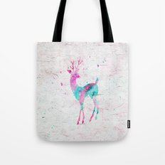 Pink and Turquoise Cute Deer Animal Watercolor Art Tote Bag