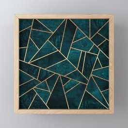 Deep Teal Stone Framed Mini Art Print