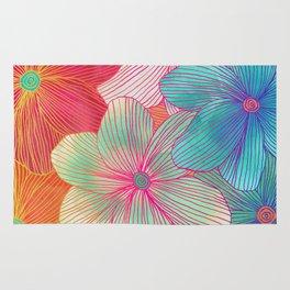 Between the Lines - tropical flowers in pink, orange, blue & mint Rug