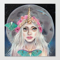Nymeria and the Luna Moths by Kim Turner Art Canvas Print