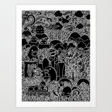 Oodles of Doodles of Singapore (Black) Art Print