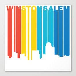 Retro 1970's Style Winston-Salem North Carolina Skyline Canvas Print