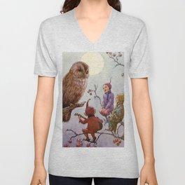 """""""A Carol for Brown Owl"""" by Margaret Tarrant Unisex V-Neck"""