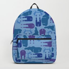 Blue Moose Pattern Backpack