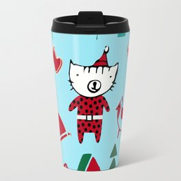 Cute Christmas cat blue Travel Mug