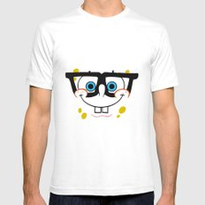 Spongebob Nerd Face Mens Fitted Tee SMALL White