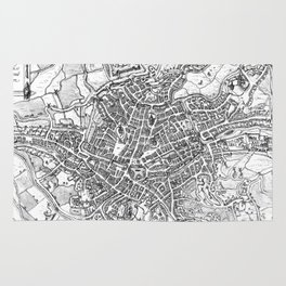 Vintage Map of Ghent Belgium (1650) BW Rug