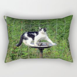 Cat Akimbo Bird Bath Rectangular Pillow