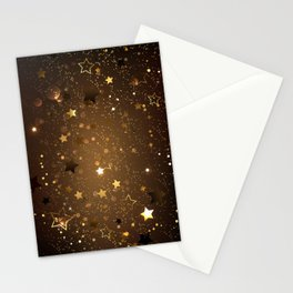 Brown Background with Stars Stationery Cards